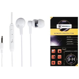 BrainBell COMBO OF UBON Earphone OG-33 POWER BEAT WITH CLEAR SOUND AND BASS UNIVERSAL And  MICROMAX BOLT Q300 Tempered Scratch Guard Screen Protector