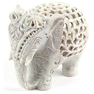 Handmade Marble Elephant Pair With Jali Design Carving With Baby Elephant Inside For Home Decoration and Gifting