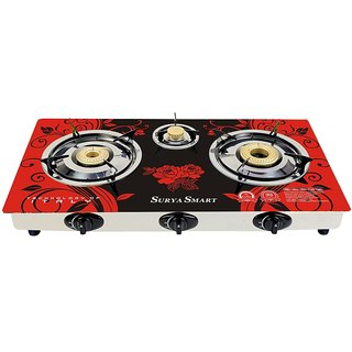 Surya Smart 3 Burner Gas Stove Automatic (Multicolor)