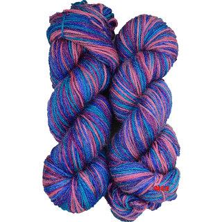 M.G Multi Voilet 300 gm hand knitting Soft Acrylic yarn hank wool thread for Art & craft, Crochet and needle