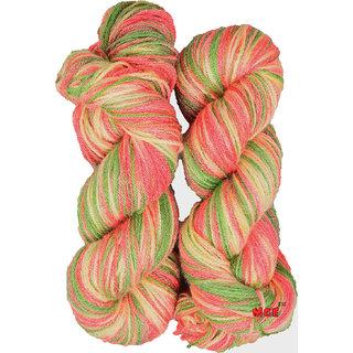 M.G Multi Magenta Green Cream 400 gm hand knitting Soft Acrylic yarn hank wool thread for Art & craft, Crochet and needle