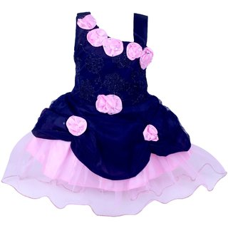 Princess Pink & Navy Girl Party Dress