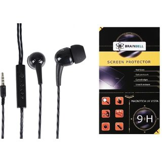 BrainBell Combo Of UBON UH-292 BOMB UNIVERSAL BLAST YOUR MUSIC And  MICROMAX BOLT Q331 Guard Screen Protector
