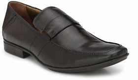Hitz Men's Brown Original Leather Slip On Formal Shoes