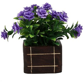 carmer  artificial plant small bonsai plant with purple flower with wood pot