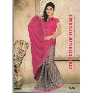 Designer Printed lace border saree with blouse