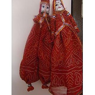 Rajasthani Handmade Puppets Home Decorative Wooden  Cloth Kathputli Set Of 2