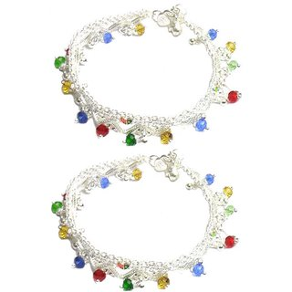 Beadworks Ethnic Metal Anklet-14