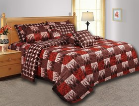 Shine Furnishing  Print Cotton Double Bedsheet with 2 Pillow Covers