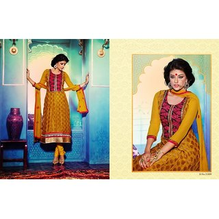 Designer Georgette Readymade Anarkali Suit Red And Yellow