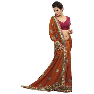 Triveni Orange Bhagalpuri Silk Self Design Saree With Blouse