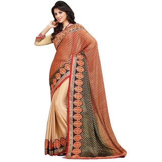 Triveni Beige Faux Georgette Embroidered Saree With Blouse