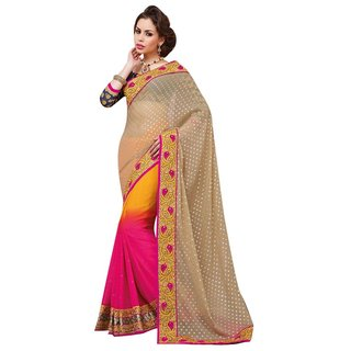 Triveni Pink Faux Georgette Embroidered Saree With Blouse