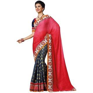 Triveni Blue Viscose Jacquard Embroidered Saree With Blouse