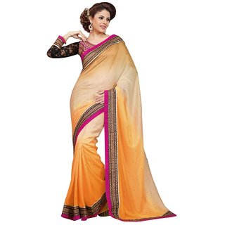 Triveni Orange Faux Georgette Embroidered Saree With Blouse