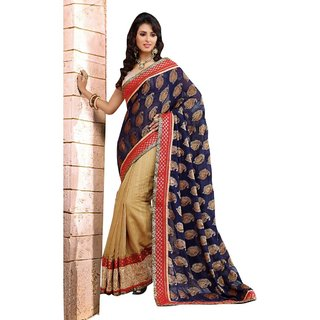 Triveni Cream Cotton Embroidered Saree With Blouse