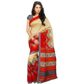 Triveni Beige Art Silk Printed Saree With Blouse