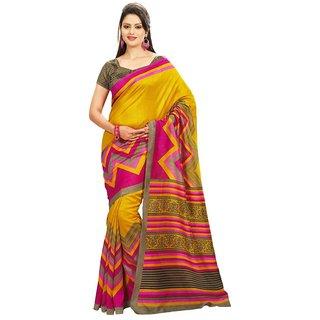 Triveni Yellow Art Silk Printed Saree With Blouse