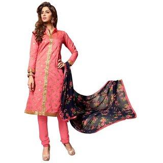 Triveni Evoking Pink Embroidered Chanderi Cotton Semi Stitched Salwar Kameez