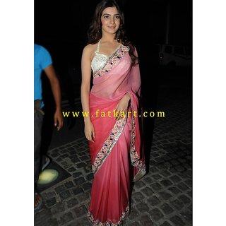 Samantha Ruth Prabhu Ombre Pink Chiffon Bollywood Saree