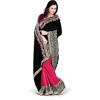 Bollywood Style Black Designer Half And Half Saree