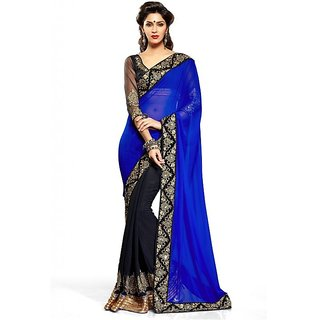 BOLLYWOOD STYLE BLUE  BLACK DESIGNER HALF AND HALF SAREE