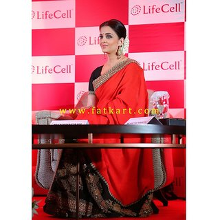 Aishwarya Rai Red And Black Half And Half Bollywood Saree