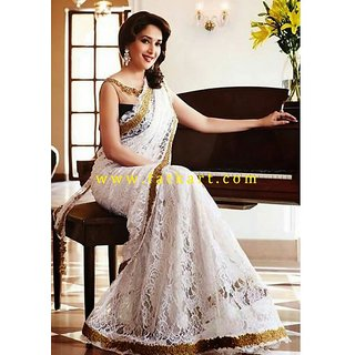 Madhuri Dixit Elegant White Net Bollywood Saree
