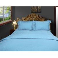 Just Linen 200 TC Cotton Percale Light Sky Blue Flat Twin Bedsheet Set