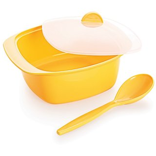 Cello Ware Serving Bowl With Spoon Square Yellow