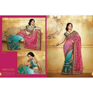 Indian Ethnic Designer Net Saree Pink And Green