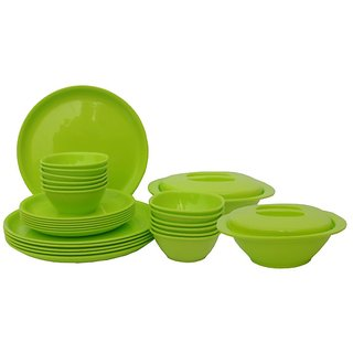 Incrizma Lime Green Round Dinner Set- 28 Pcs