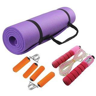 buy combo of 3  yoga mat 6 mm skipping rope hand grip