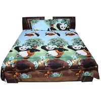 Shopcrats 3D-Panda Print Double Bedsheet With 2 Pillow Covers