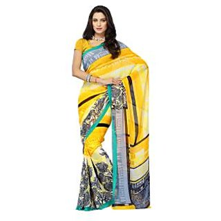Aaliya Yellow Colored Faux Georgette Printed Saree