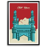 Royal Charminar Mosque Monument Of India Typography Framed Poster