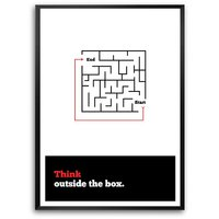 Think Outside Inspirational Corporate Startup Typography Framed Poster