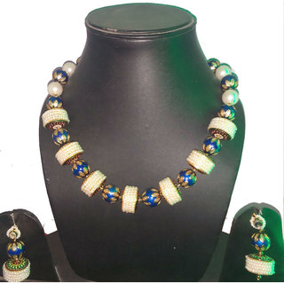 Meena Balls Necklace Set Blue And Off White