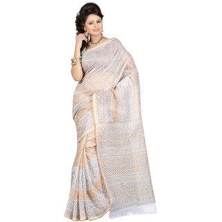 Fabdeal Golden  White Colored Cotton Printed Saree
