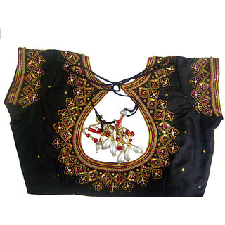 2184587577cb13 Online Embroidered designer Blouse Material unstritched- black color Prices  - Shopclues India