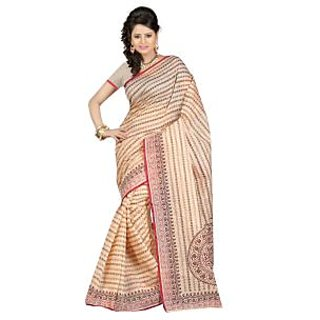 Fabdeal Beige Colored Cotton Printed Saree