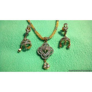 Pretty CZ Pendant Necklace Set with Mesh Chain filled with CZ Stones