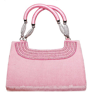 QnQ PINK Color cool fur look stylish Handbag for Ladies