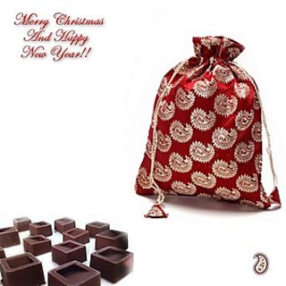 Brocade silk Chocolate pouch