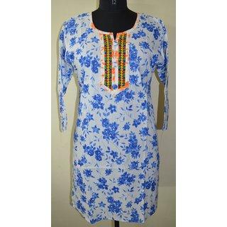 Ethnic-Indian-designer-Cotton-Printed-Kurta-Top-Top Tunic Bust 42 Design KUR17