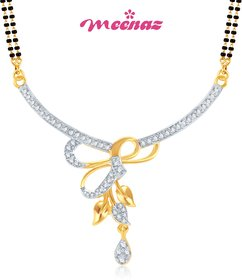 MEENAZ VIRTUOUS BEAUTY CZ GOLD & RHODIUM PLATED CZ MANGALSUTRA PENDENT MSP717