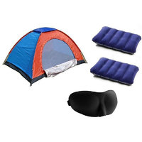 Set Of 3 Combo 2 Person Tent,2 Intex Travel Pillow,Solid Eye Mask