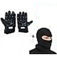 Black Combo Pro-Biker Gloves + Balaclava