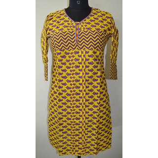 Ethnic Indian designer Cotton Printed Kurta Top Tunic Bust 38 Design KUR05