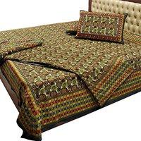 Jaipuri Pure Cotton Double Bedsheet & Duvet Set